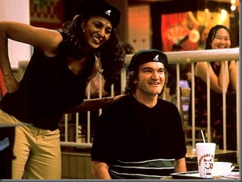 Pam Grier and Quentin Tarantino on the set of Jackie Brown